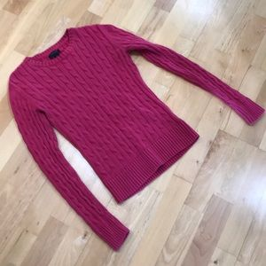 Pink Tommy Hilfiger cable knit sweater